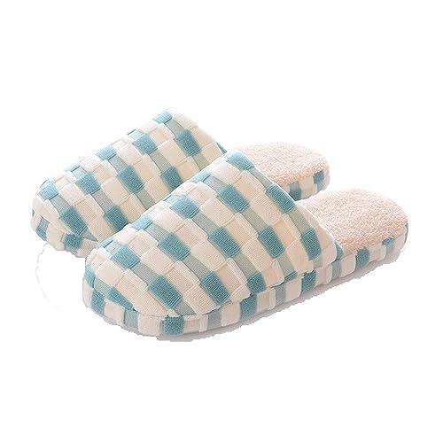 Zapatillas de Tela Escocesa par Zapatillas de algodón Color Moda Cuadrada Caliente Arrastre de algodón en casa: Amazon.es: Zapatos y complementos