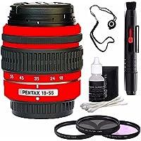 PENTAX DA 18-55mm f/3.5-5.6 AL Weather Resistant Lens (Red) + 3 Piece Filter Kit + Deluxe 3pc Lens Cleaning Kit + Lens Pen Cleaner + Lens Cap Keeper 6AVE Bundle