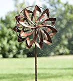 Hydro Flower Blossom Garden Wind Spinner and Water Sprinkler - Decorative Garden Sculpture - 24 Dia. x 10 W x 77 H - Copper Finish