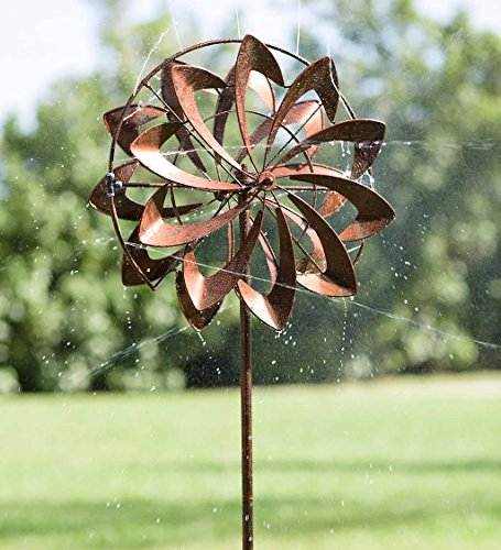 Hydro Flower Blossom Garden Wind Spinner and Water Sprinkler - Decorative Garden Sculpture - 24 Dia. x 10 W x 77 H - Copper Finish by Plow & Hearth