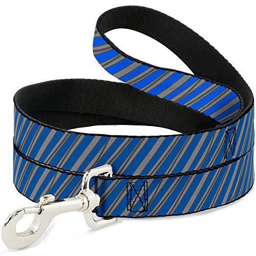(Buckle Down Dog Leash Diagonal Stripes Scribble Gray Blue 6 Feet Long 0.5 Inch Wide)