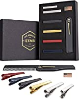 Tie Bar Clip Set for Men -[6 Pc]- Pinch / Hold Skinny & Regular Ties - Gift Box