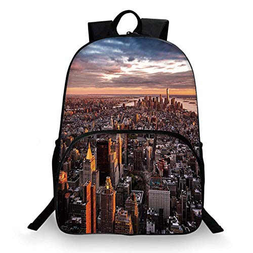 USA Various Schoolbag,Aerial View of the Manhattan Skyline at Sunset Famous Financial District NYC for student,11