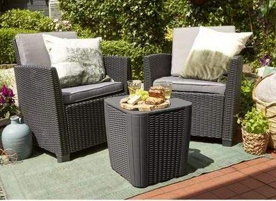 Luca Outdoor- Sunroom Furniture- Out Door Patio Furniture- Graphite Plastic Resin Three Piece Set Cushioned - Great for Summer Barbecues, Garden Parties, and Afternoons Spent Lounging