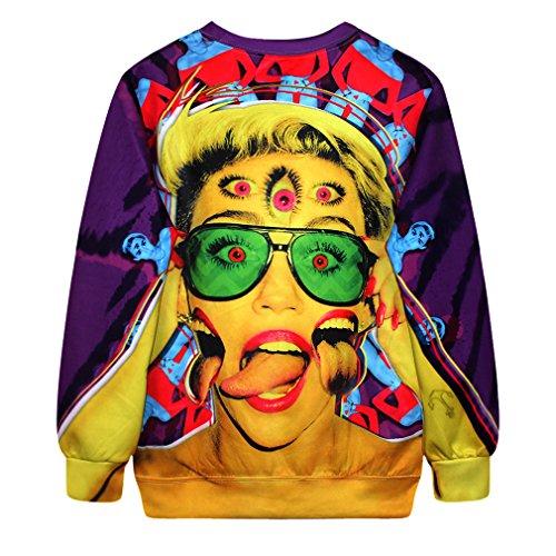 Camiseta de ocio para mujeres YICHUN sudaderas delgadas Tops impresos Pullovers suéter casual blusa jerséis Portrait 14#