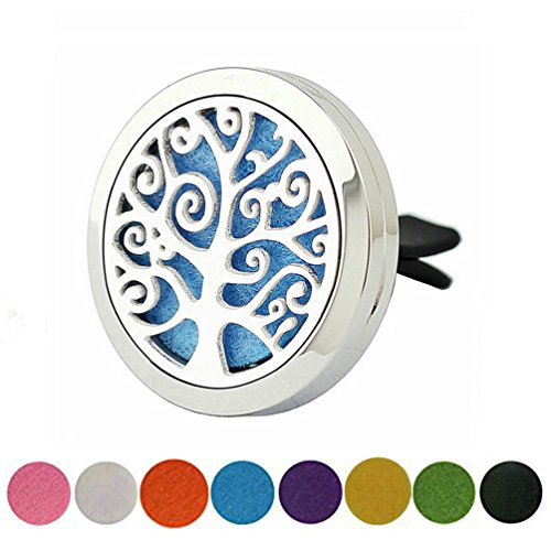 Aromatherapy Car Air Freshener - 'Tree Of Life' Design Stainless Steel Locket - Best Essential Oil Diffuser For Men & Women - Perfect Christmas Gifts For Family, Friends,Brother (Women Gifts Unique)