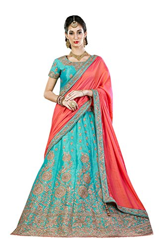 PCC Indian Women Designer Wedding sky blue Lehenga Choli K-4571-40073