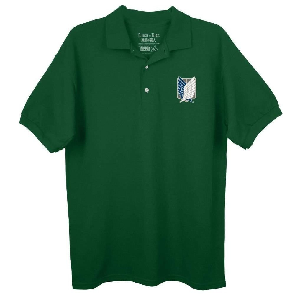 Attack On Titan Survey Corps Logo Forest Green Polo Shirt Toy Zany