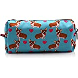 LParkin Corgi Dogs Students Super Large Capacity Canvas Pencil Case Pen Bag Pouch Stationary Case Makeup Cosmetic Bag (Blue)