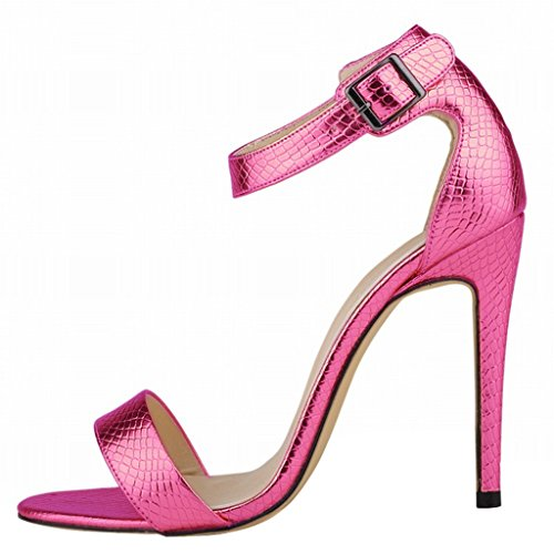 Wotefusi Women Summer Snakeskin Pattern Open Toe Bandage Ankle Strap Sandals Shoes High Heels Stilettos Rose Red gtBTFTfjnH