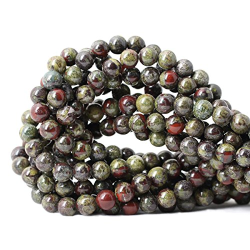 Qiwan 45PCS 8mm Natural dragon blood jasper Gemstone Gem Round Loose Beads for Jewelry Making 1 Strand ()