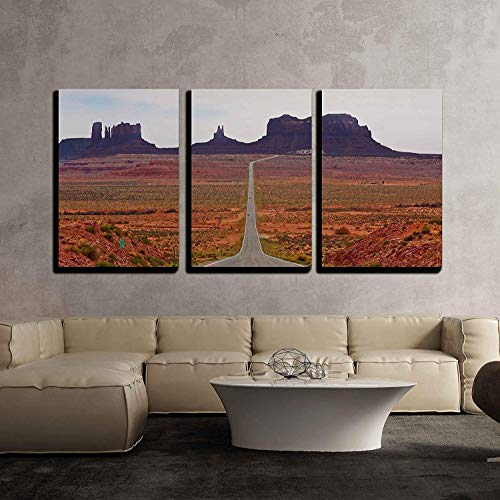 wall26 - 3 Piece Canvas Wall Art - a Straight Desert Road Through The Monument Valley Area in Arizona. - Modern Home Decor Stretched and Framed Ready to Hang - 16