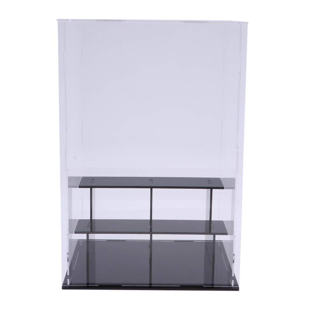 3 Steps Acrylic Display Case Assembly Dustproof Figurine Show Box 21x15x16cm