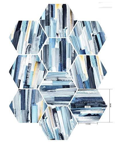 BQMB 20 UNIDS Pegatinas de Azulejos Azul Abstracto Impermeable Dormitorio de la Cocina Pegatinas de Pared Hexagonal Muebles...