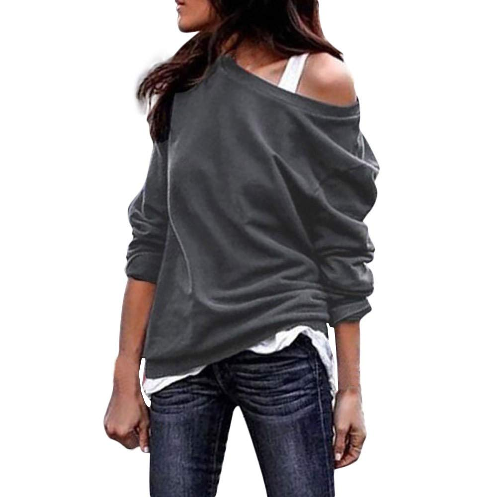 Limsea 2019 Womens Casual Loose Hollowed Out Shoulder Three Quarter Sleeve Shirts