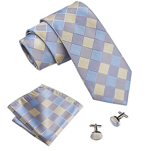 - Barry.Wang Formal Check Tie and Pocket Square Set Silk,Grey and Yellow,One Size