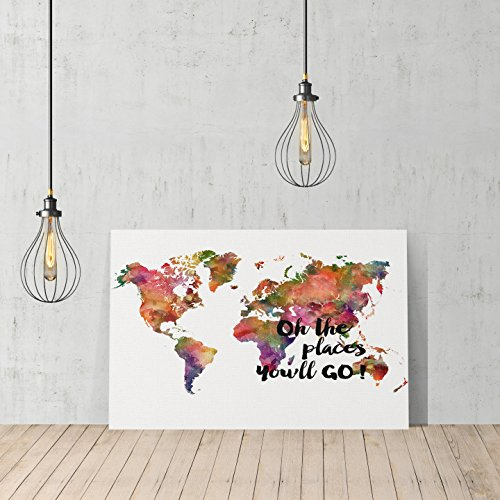 [Decorative World Map Oh the Place You will Go! Canvas Print Decorative Art Modern Wall Décor Artwork Wrapped Wood Stretcher Bars Vertical- Ready to Hang - %100 Handmade in the USA] (Youll Large Poster)