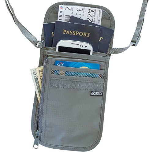 Lg Navigator Cell Phone (Travel Navigator Neck Wallet and Passport Holder with RFID Blocking -)