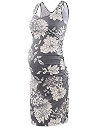 Women's Maternity Sleeveless Tank Dresses Side Ruching Bodycon Dress For Daily Wearing Or Baby shower
