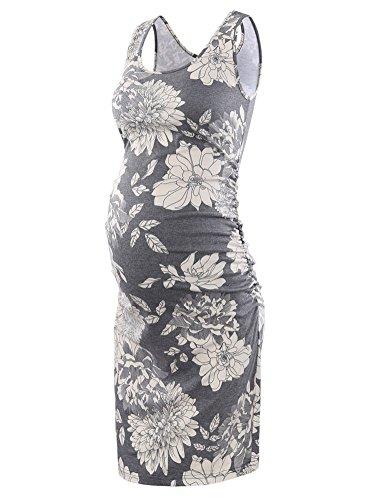 Liu & Qu Women's Maternity Sleeveless Tank Dresses Side Ruching Bodycon Dress For Daily Wearing Or Baby shower