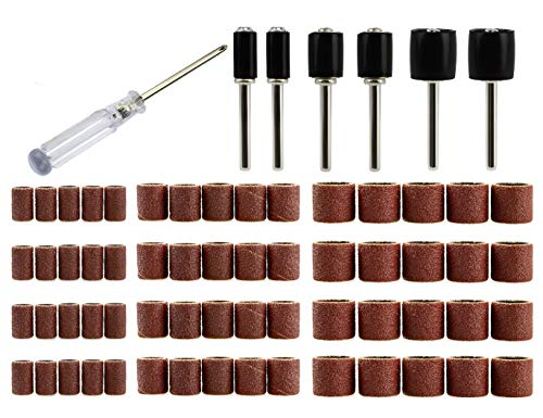 120 Grit Sanding Bands with Sanding Drum Mandrel and Screwdriver 67 Pack for Dremel Rotary Tool by MoArmor
