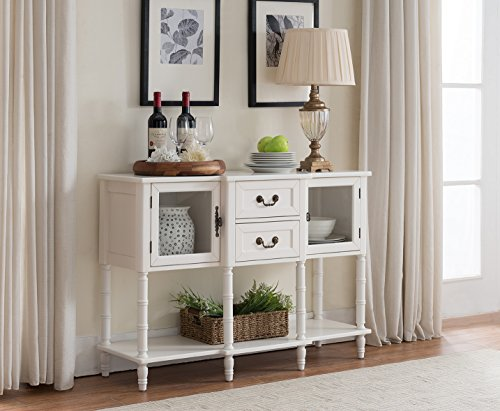 Kings Brand Furniture Wood Buffet Sideboard Cabinet Console Table, Cream (White Sideboard Table)