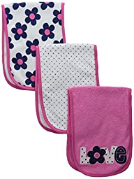 Gerber Baby Girls\' 3 Pack Terry Burp Cloths, Love, One Size