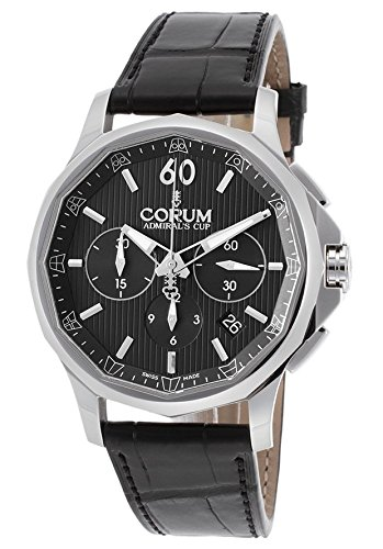 Corum 984-101-20-0F01-An10 Men's Admiral's Cup Legend 42 Auto Chrono Black Alligator And Dial Ss Watch