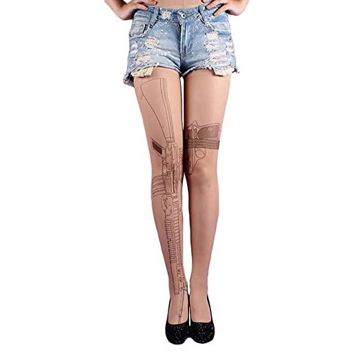 10a074cf48f Image Unavailable. Image not available for. Color  Freedi Sexy Machine Gun Tattoo  Socks Transparent Pantyhose Stockings Tights Leggings