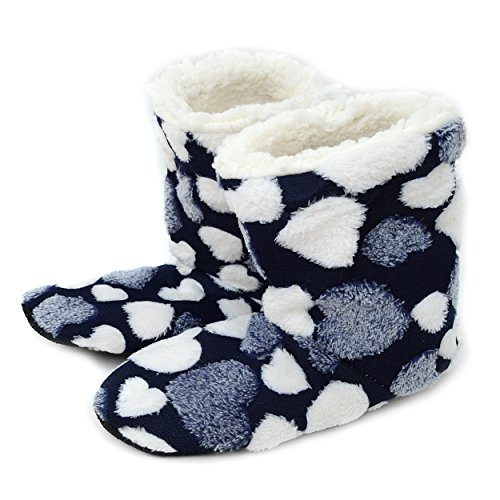 Nollia Women's Cozy Hearts Sherpa Lined House Slipper Booties