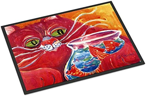 Caroline s Treasures 6048JMAT Big Red Cat at The Fishbowl Indoor or Outdoor Mat 24×36 Doormat, 24H X 36W, Multicolor