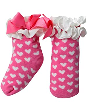 Newborn Baby-Girls Girl White Hearts On Socks