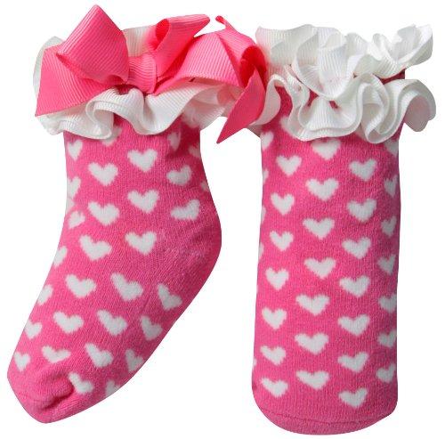 Mud Pie Newborn Baby-Girls Girl White Hearts On Socks, Hot Pink/White, 0-12 Months (Pink Heart Socks White)