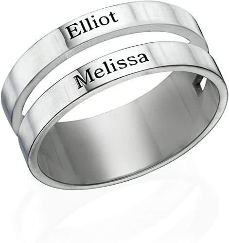 Couples Jewelry Engravable Name Ring in Sterling Silver or Gold Plated Personalized Gift for Moms