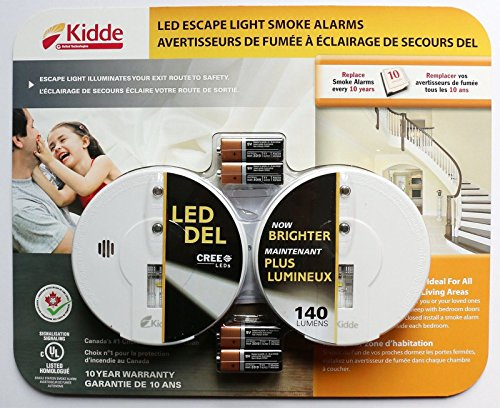(2 Pack) Kidde Smoke/Fire Alarm with Hush and Safety CREE LED Escape Light