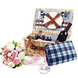 Woworld 2 Person Traditional Wicker Picnic Basket Hamper with Cutlery,Plates,Wine Glasses,Free Waterproof Picnic Blanket Blue/White Liner 2
