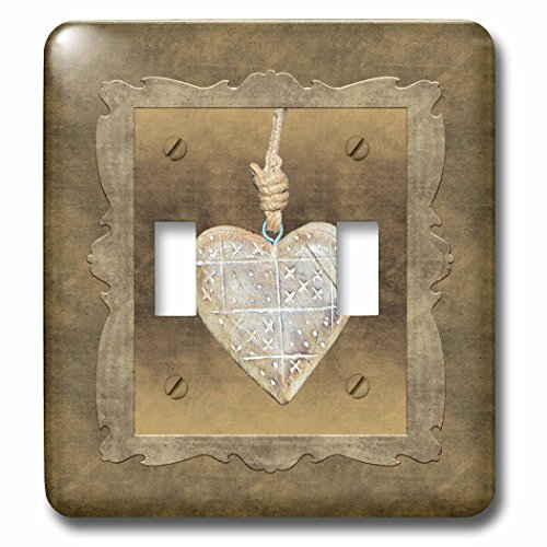 Beverly Turner Heart Design - Wooden Heart on Rope, Framed, Gold Background - Light Switch Covers - double toggle switch (lsp_236907_2)