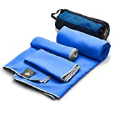 Set of 3 Microfiber Bath Towels Quick Dry — Gym Workout Travel Swimming Antimicrobial Shammy — Camp Outdoor Hiking Towel — Ultra Absorbent Bathroom Spa Body, Hair, Face, Hand & Neck — Gift Mesh Bag