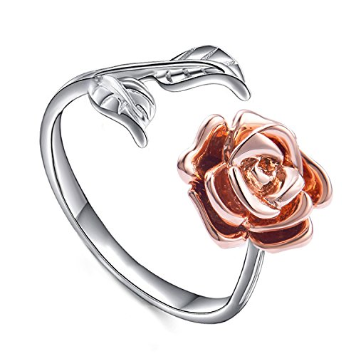 Rose Ring for Woman Flower Leaf Ring Adjustable Rings for Teen Girls (red rose)