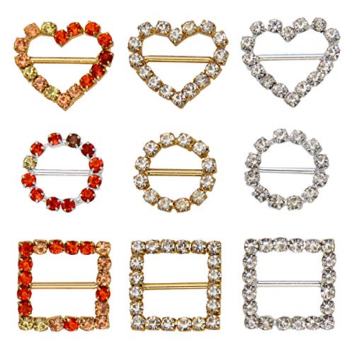 Rhinestone Buckle Ribbon Buckle, Luxiv 9 Pcs Crystal Buckle Silver Round, Heart Shape, Square Buckle for Wedding Christmas Invitation Letter, Gift Package, DIY Buckle Accessories ()