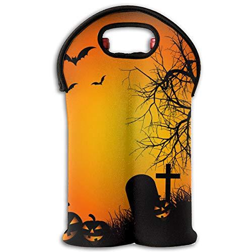 Happy Halloween Bat Pumpkin 2-Bottle Wine Carrier Tote Bag Traveling Wine/Water Bottle Handbag With Carry Handle Two Bottle Drinks Beer Holder ()