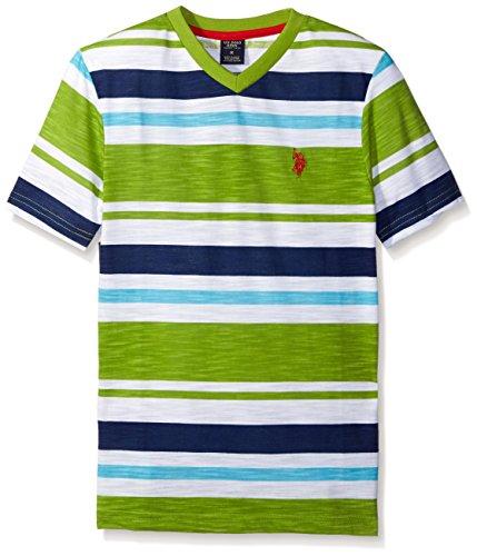 U.S. Polo Assn. Boys' Big Engineered Stripe V-Neck T-Shirt, HA42-Summer Lime, 14/16