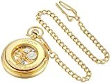 Akribos XXIV Mens AKR453YG Mechanical Skeleton Gold-Tone Pocket Watch