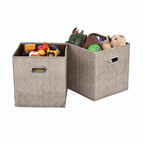 VCCUCINE Modern Cloth Fabric Cubes, Light Brown Storage Bins with Mental Handle[2 Sets] (Drawer 2 Bin Storage)