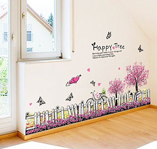 Homefind Romantic Pink Cherry Blossom Flowers Trees Fences with Butterflies Baseboard Wall Stickers Peel & Stick Wall Corner Border Wall Art Decals for Bedrooms Children Rooms Nursery 43