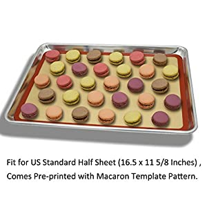 "Silicone Baking Mat Cookie Sheet Set (2) Non-stick Cooking Mat Liner for Macaron Cake Bread Making Microwave Toaster Oven Tray Pan,16.5"" x 11 5/8"""