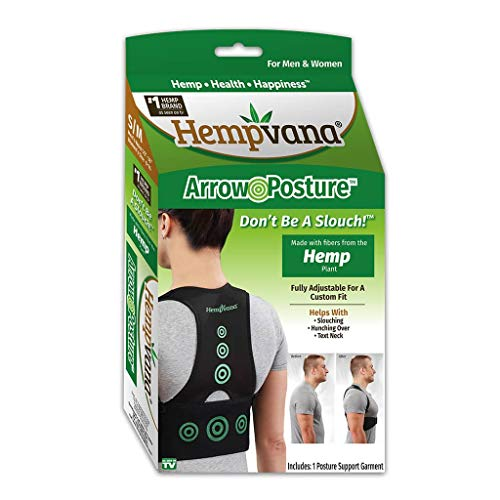 Hempvana Arrow Posture - Fully Adjustable Posture Support & Posture Corrector for Upper Body - Helps Correct Slouching, Text Neck and Hunching Over S/M (Back Brace As Seen On Tv)