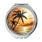 Sunset Beach Palm Tree Hawaii Paradise Orange Compact Purse Mirror