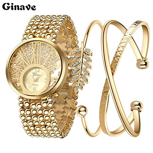 Fashion Ladies Watch Gold Color Watch,Outsta Stainless Steel Analog Analog Watch Bracelet New Round Case Watch Hot!!! (C) ()