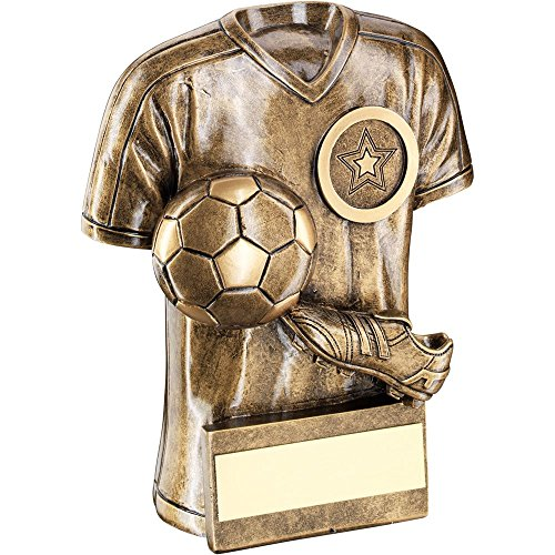Lapal Dimension BRZ/GOLD FOOTBALL TROPHY SHIRT WITH BOOT/BALL TROPHY - (1in CENTRE) 4in